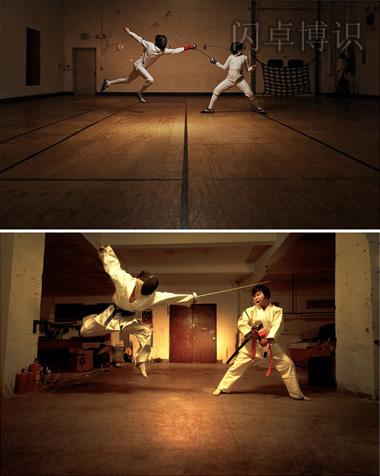两张击剑手的照片