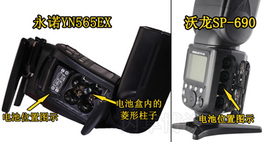 永诺YN565EX和沃龙SP-690的电池盒对比