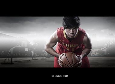 闪卓博识读者零羽的篮球运动员作品后期合成图