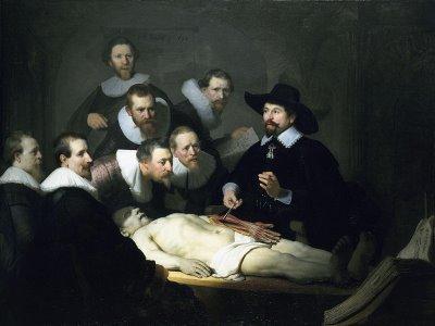 荷兰的绘画大师伦勃朗画的尼古拉斯•杜尔博士的解剖学课