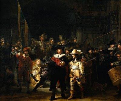 荷兰的绘画大师伦勃朗画的大集体照作品夜巡