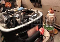 大卫·豪比拍摄他的摄影包和鹰的合照