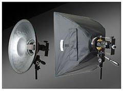 一套Strobies XS设备图有支架、标准罩、柔光箱和一个COR751灯架