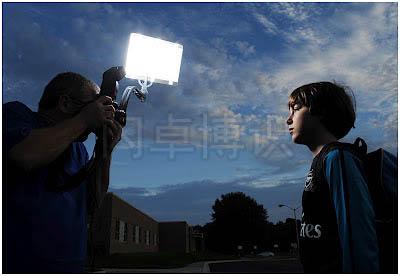 大卫·豪比使用变光工具Bounce-Wall为儿子Ben在室外拍摄肖像照时的幕后拍摄