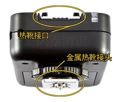 永诺收发一体的TTL引闪器YN-622C热靴接口和热靴接头特写图
