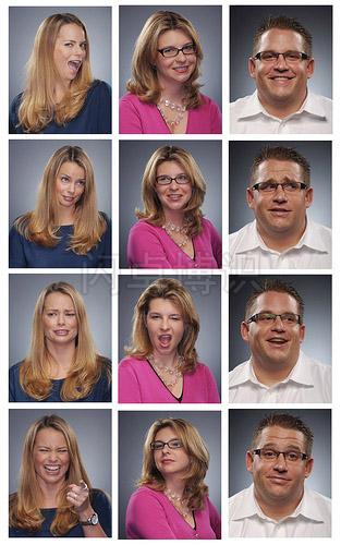 大卫·豪比为一家金融服务公司社交媒体团队拍摄的各种表情肖像集合照