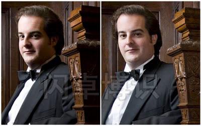 拍摄歌剧演唱家Rolando Sanz加辅助光与没加辅助光的对比图