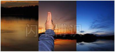 大卫·豪比拍摄的日落前、日落中和日落后的照片对比图