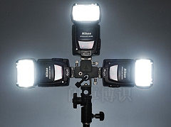 Lastolite TriFlash Sync多灯反光伞接头连接三个SB-800展示图