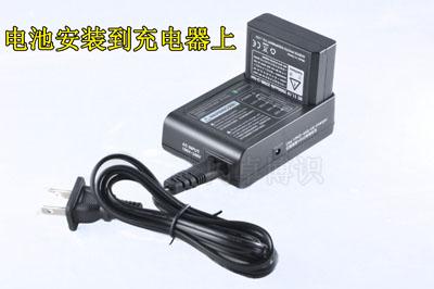 电池安装在充电器上的照片